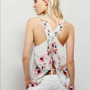 Free People Floral Criss Back Tank Top
